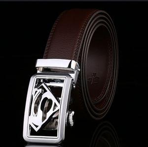 Men's leather belt superman buckle belt adjustable